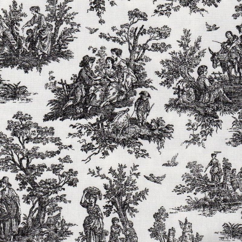 Virginia Black Toile Print Upholstery